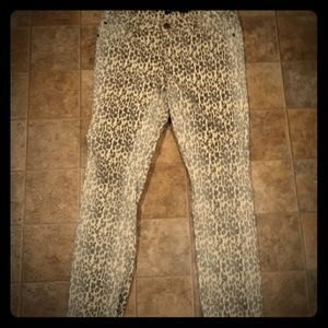 Boom Boom White Washed Leopard Print Jeans